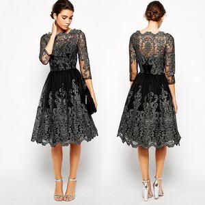 28e650f099 Sukienka wieczorowa z koronką silver elegancka rozkloszowana S - XL