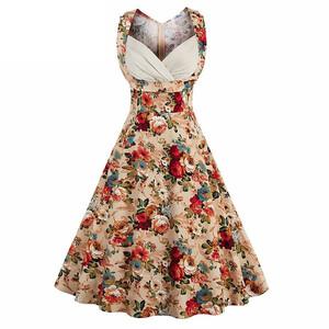 f6307de57b Sukienka rozkloszowana midi koktajlowa kwiaty