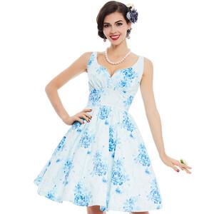 be5a7f895d9c Sukienka rozkloszowana midi koktajlowa biała niebieska kwiaty