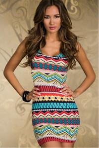 4e714dc94ab9 sukienka obcisła boho azteckie wzory prosta s-xxxl