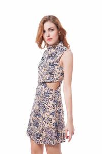 6f03e5ae6c50 Boho sukienka golf kołnierzyk crop top