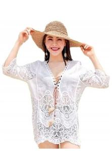 aecea1447d12e5 Ażurowa haftowana boho vintage tunika bluzka