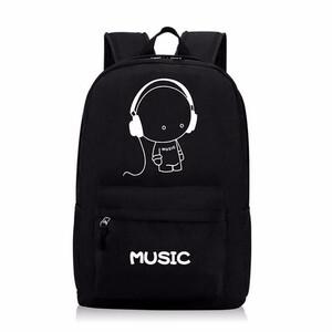 9e475acd2f11d Plecak szkolny odblaskowy płótno music czarny