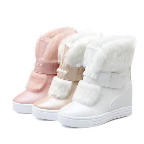 Damskie śniegowce botki mukluk z futerkiem koturn białe