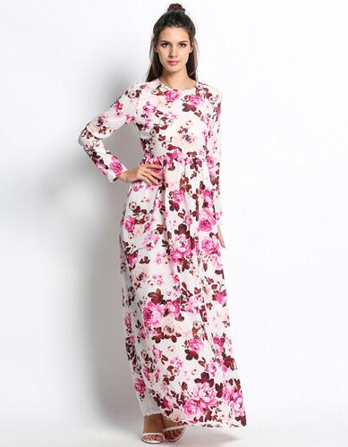 f6ae1d25d8 Sukienka długa maxi kwiaty rozkloszowana MODITO
