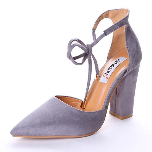 474970595852d Stylowe wiązane buty damskie na obcasie słupek modne kilka kolorów 34 - 43