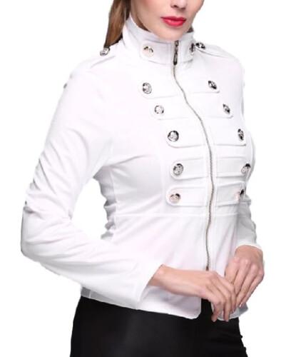 b67a83620cb3 Seksowna kurtka damska biała militarna guziki xs-xl MODITO