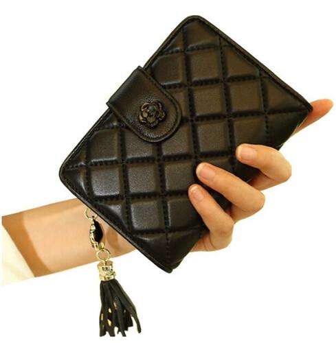 d26f64bd21a2ad Pikowany śliczny portfel damski skóra naturalna. Czarny