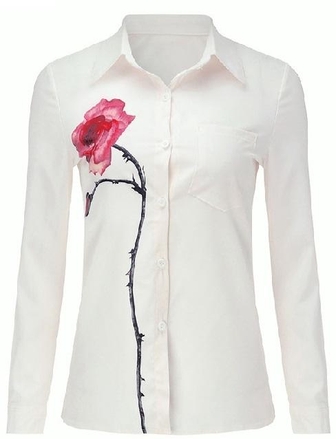 abd6dfe85f56b Elegancka koszula damska print róża biała. KOSZULA BIAŁA