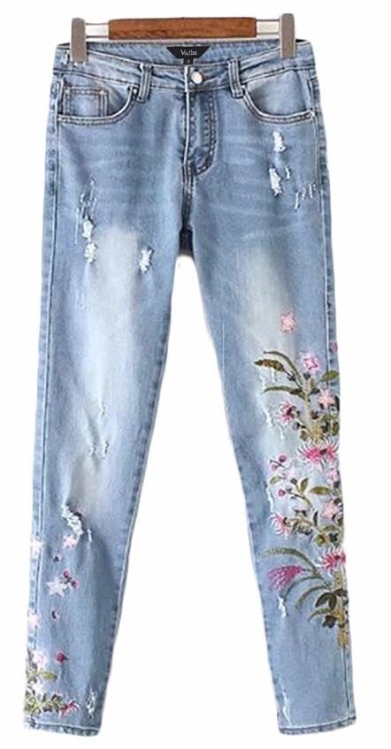 Masywnie Damskie mom jeans haft naszywki kwiaty new trend MODITO MG04