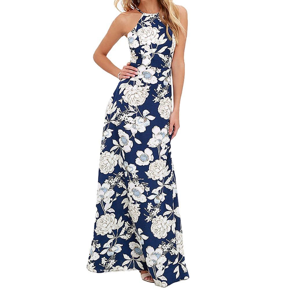 893c710469 Sukienka długa maxi wesele kwiaty granatowa MODITO