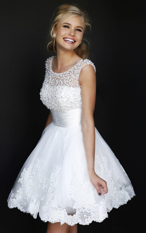 9b43911d32 Urocza koronkowa suknia ślubna krótka biała koraliki xs-xxl MODITO