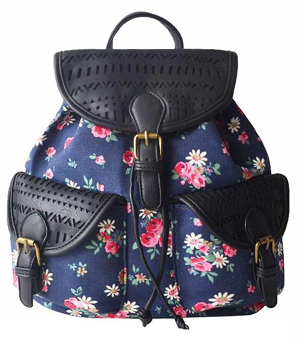 eb2131dd61246 Plecak szkolny damski grube płótno skóra kwiaty kolorowy MODITO