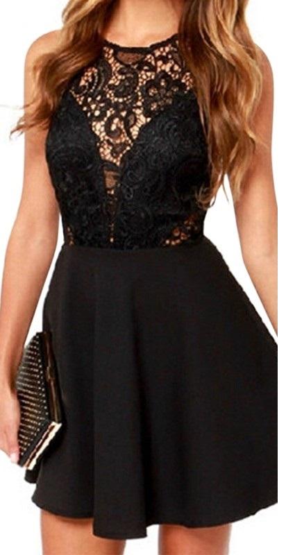 Modernistyczne Sukienka koronkowa czarna mini dekolt plecy MODITO VH12