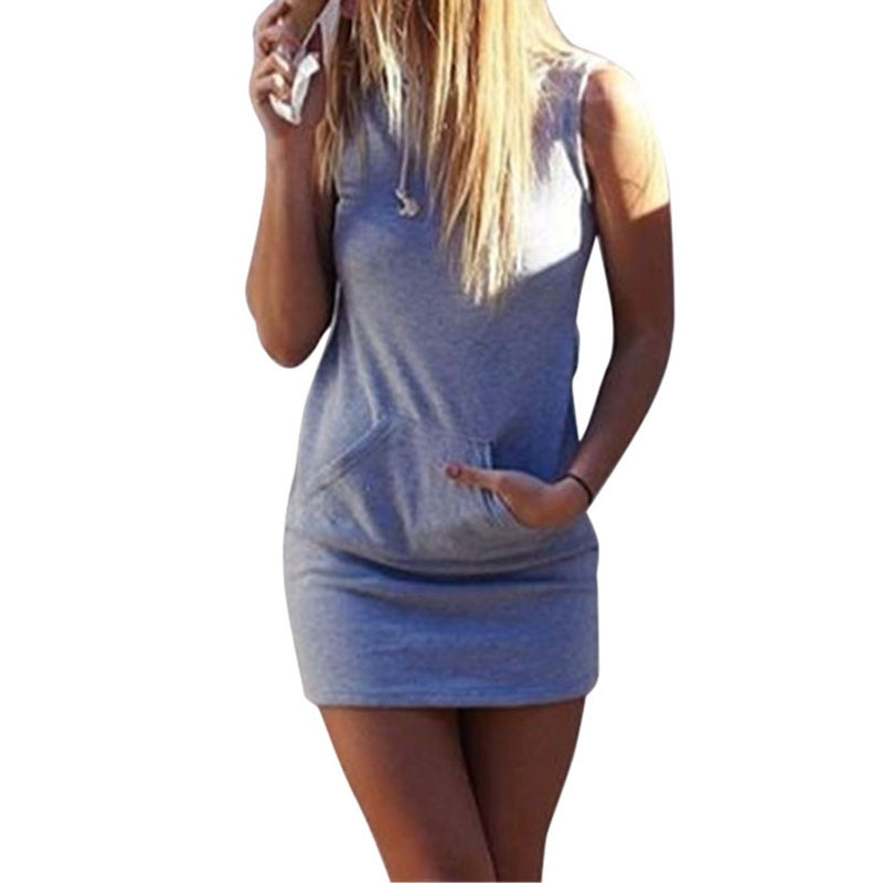 2f0914bee0 Sukienka dresowa mini na lato casual szara z kapturem MODITO