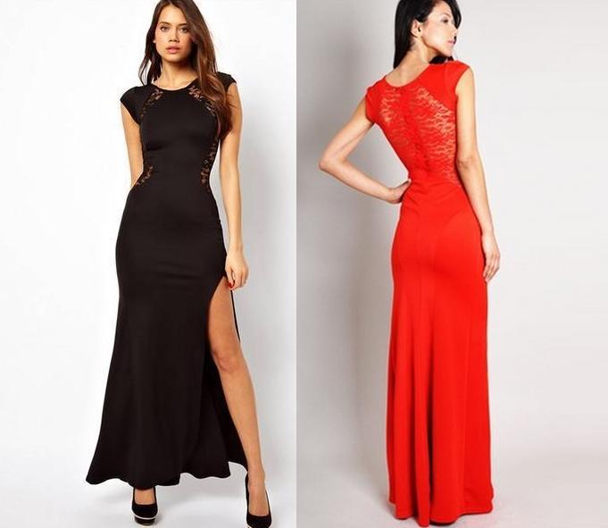 eefe3e6242 Sukienka wieczorowa dopasowana koronka czarna czerwona s - xxl. EK291.  EK291  CZARNY  CZERWONY