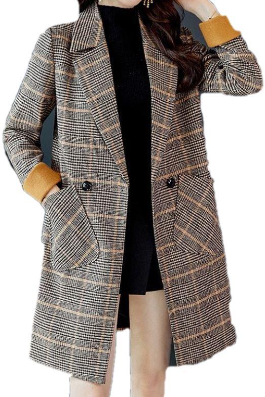 Płaszcz damski brązowy w kratę casual guziki