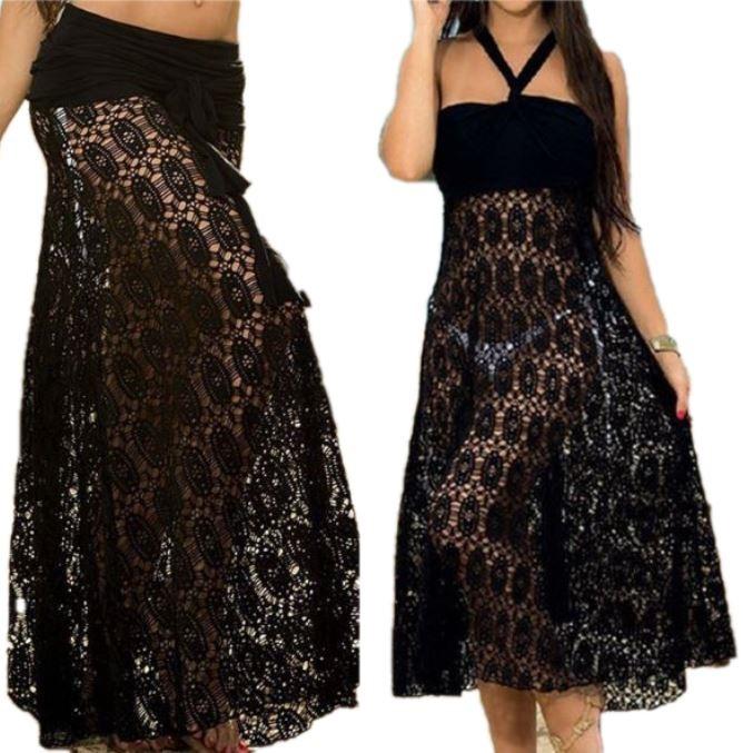 832fa4ae66 spódnica sukienka 2w1 na lato plażę biała  spódnica sukienka 2w1 na lato  plażę czarna