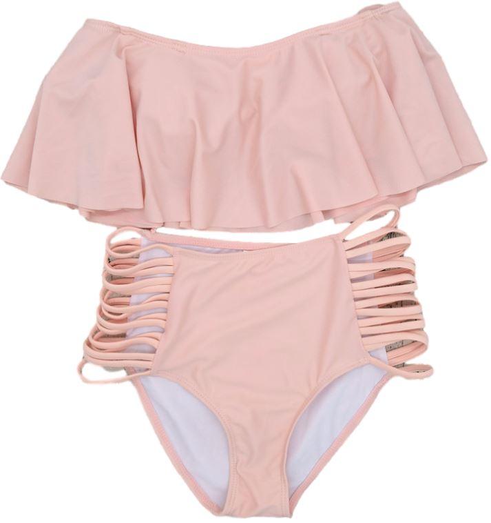 a0589ac545c5b7 Bikini kostium strój kąpielowy wysoki stan falbana MODITO