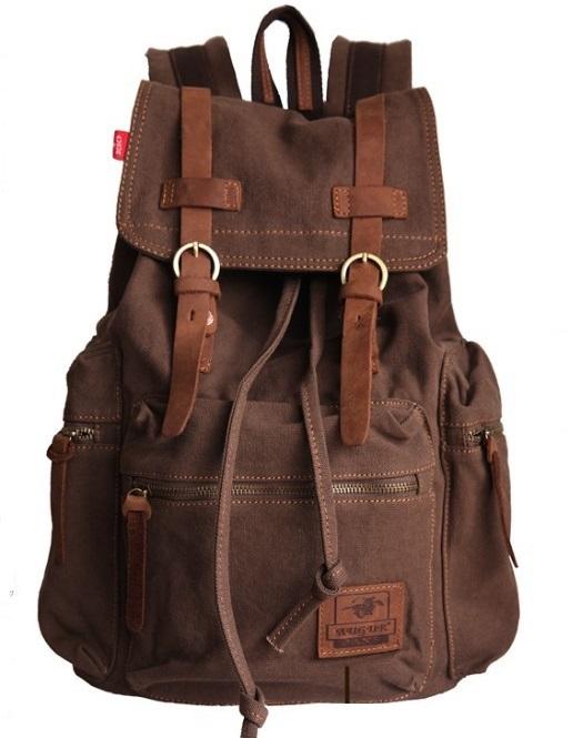 df1867fd44100 Plecak vintage pojemny grube płótno solidny pojemny MODITO