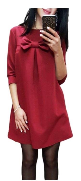 014918a0e1 Sukienka tunika kokarda czerwona elegancka MODITO