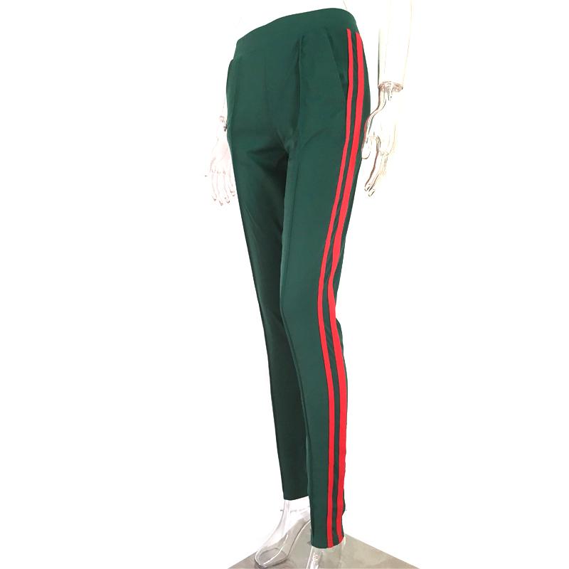 Dresowe spodnie damskie z lampasami zielone new S XL